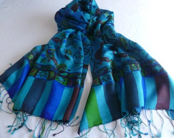 Scarf, embroidered, FREE SHIPPING, Campanula blue, natural fiber,  paisley, Kani design, wool silk blend, table runner