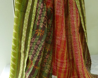 Vintage silk Kantha, FREE SHIPPING, wrap, large silk scarf, reversible, lime green and red scarf, table runner, home decor, furniture cover