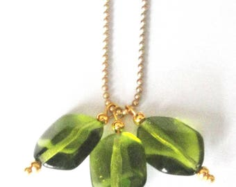Necklace diamonds, hexagons and Golden olive green
