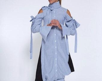 Shirts On Sale Now New Spring Striped Shirt, Blue Striped Top, Cotton Shirt, Plus Size Shirt, Maxi Top, Blue Fashion Top, White Women's Tuni