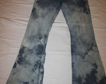 Ladies Up-cycled Forever 21 Flare hand bleach-dyed Jeans size 7