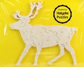 Reindeer Wood Puzzle - Deer Wood Puzzle - Color Your Own Craft Puzzle - Kids Craft Project