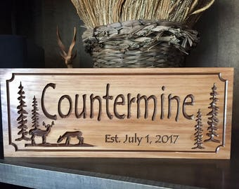 Personalized Cabin Signs Rustic Family Last Name Welcome Pine Tree Cone Deer Silhouette carved Wooden Sign Cottage Cabin Decor Doe Buck #14