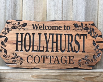 Christmas Holly berry, Mistletoe, Xmas signs, hanging Sign, Wood Carved Cabin Sign, holiday Camp Sign, Seasonal Sign, Cottage Sign,