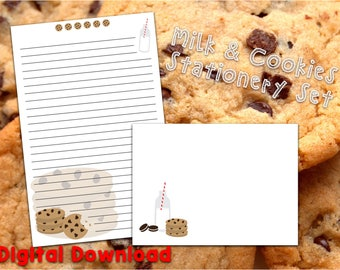 Cookies and Milk Stationery Set - Digital Download