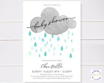 Custom Edited Watercolour Rain Cloud Baby Shower Invitation - Digital JPG / PDF - 5 x 7 inch