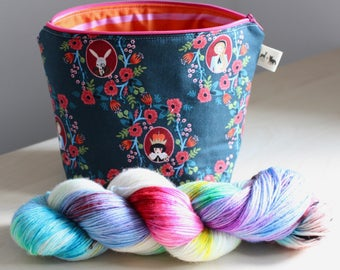 Alice in Wonderland Yarn + Bag Kit - Your Choice of Base - Mini Size Project Bag - Will ship in 2-3 Weeks
