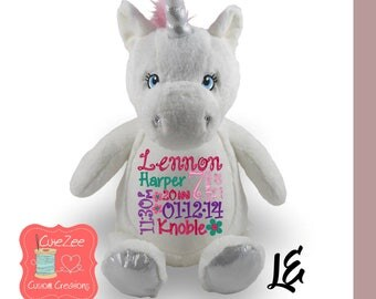 Personalized White Unicorn Stuffed Animal, Personalized Baby Gift , Birth Announcement Gift, Baby Shower Gift, Cubbie, Custom, Stuffy