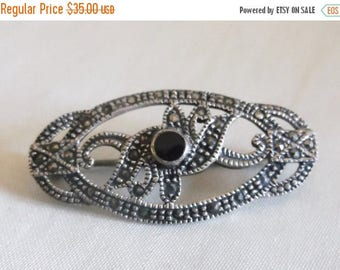 SALE Vintage 925 Silver Marcasite Black Onyx Art Deco Brooch Pin Jewelry