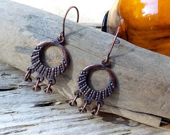 Copper Dangle Earrings, Copper ear wires. Copper Beads.  Pierced Ears.
