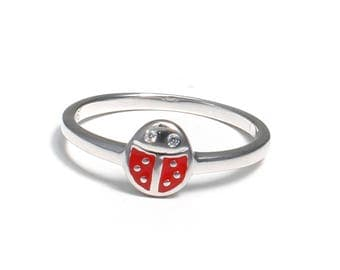 Children's ring made of 925 sterling silver with Ladybird