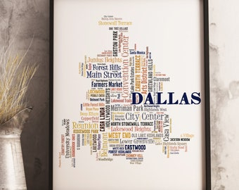 Dallas Map Art, Dallas Art Print, Dallas Neighborhood Map, Dallas Typography Art, Dallas Poster Print, Dallas Word Cloud