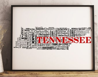 Tennessee Map Art, Tennessee Art Print, Tennessee City Map, Tennessee Typography Art, Tennessee Wall Decor, Tennessee Moving Gift