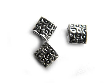20 5mm Square Silver Spacer Beads