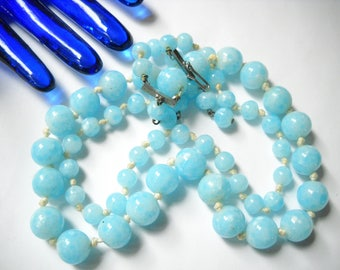 Vintage Necklace Glass Beaded Blue Glass Beads Hand Knotted Double Strand Marbled Mid Century Italy Asian