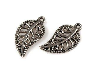 2 Charm pendant charm leaf stylized 10 x 15 mm