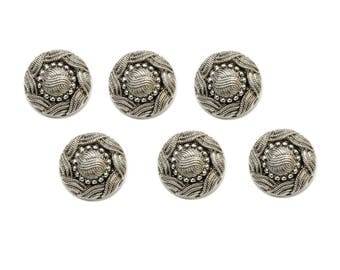 6 buttons 15 mm silver metal