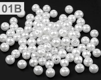 01-B - 50 g of beads 6 mm mother of Pearl round glass