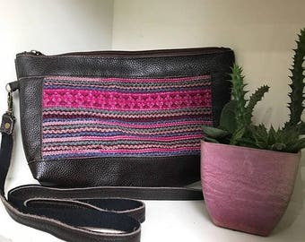 On Sale Dark brown cross body leather bag with pink vintage Hmong embroidery