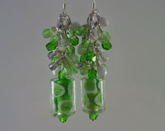 Green Lampwork Glass and Crystal Earrings; Green Crystal Cluster Earrings; Sterling Silver and Czech Crystal Earrings