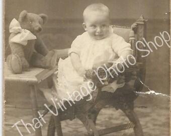 Antique CDV photograph baby and teddy bear