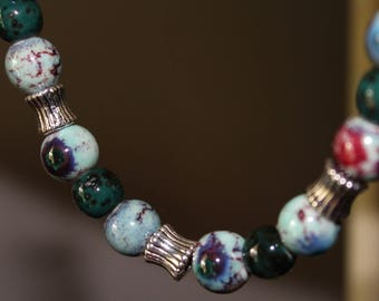Long leather necklace w/ ceramic beads