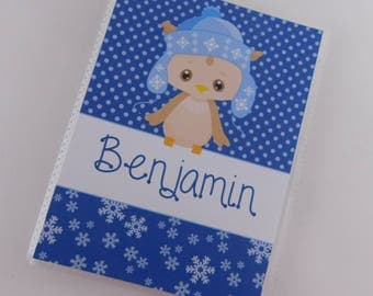Christmas Photo Album Penguin Blue Recipe Card Book Baby Boy Holiday gift personalized 4x6 or 5x7 picture My First Christmas Custom 692