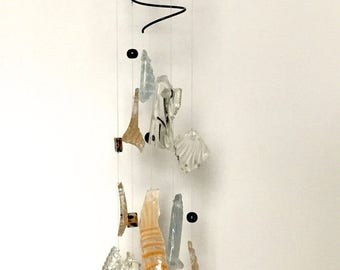 45% OFF SALE Glass wind chimes - tumbled glass mobile - tumbled glass chime