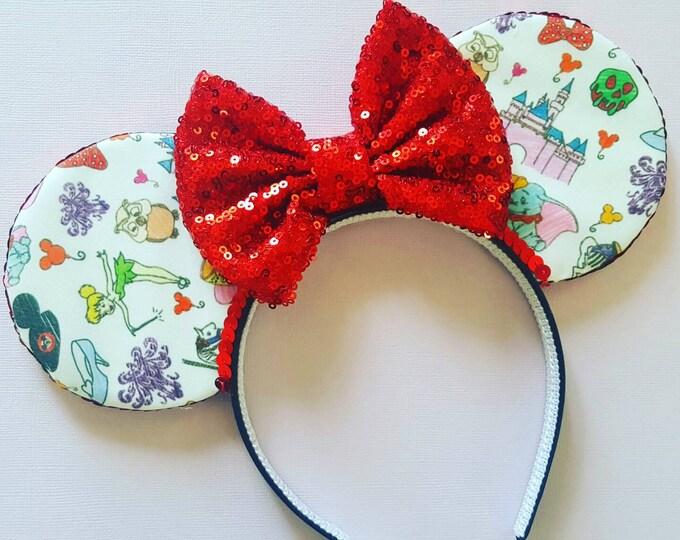 Mickey Mouse Ears Doodle Mouse Ears || Mouse Ears || Mouse Ears Headband || Minnie Mouse Ears || Sparkle Mouse Ears || RTS