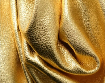 "Metallic Gold Dust ""Vegas"" Leather  Cow Hide 4"" x 6"" Pre-Cut 2-3 ounces grainy TA-28896 (Sec. 8,Shelf 6,D,Box 1)"