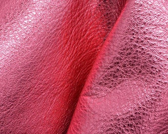 """Party Girl Pink Metallic Leather Cow Hide 8""""x 10"""" Pre-cut 3-4 ounces grainy DE-63242 (Sec. 8,Shelf 4,A)"""