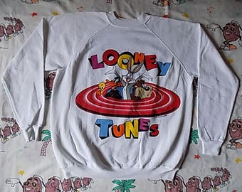 Vintage 90's Looney Tunes Pullover Sweatshirt, size Large 1994 double sided NWT