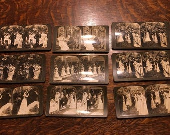 Vintage Set Of Stereoscope Viewer 3D Cards 9 Total Cards, Wedding (Cards Only, Viewer Separate)