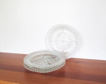 Anchor Hocking Miss America Clear Glass Four-Section Relish Plates Set of Three
