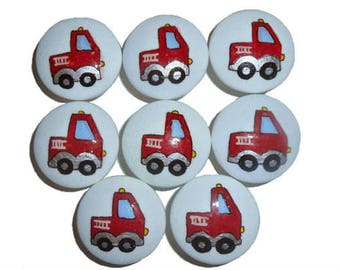 Custom Boys Red Fire Engine Hand Painted Drawer Pulls Knobs
