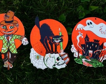 3 VTG Beistle Halloween Cut Out Decorations