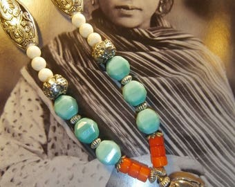 """Chéyenne"" Bohemian chic necklace, turquoise, coral, Native American spirit"
