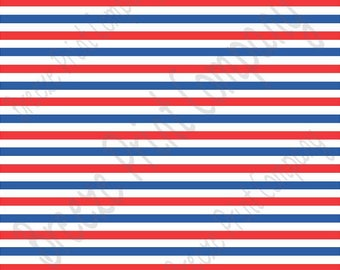 Red, blue and white stripe craft  vinyl sheet - HTV or Adhesive Vinyl -  Fourth of July stripe pattern HTV3024
