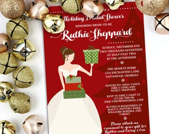 Holiday Bridal Shower Invitation, Christmas Ornament Shower, Bridal Luncheon, Holiday Bridal Shower, Engagement Party Invite, Holiday Shower