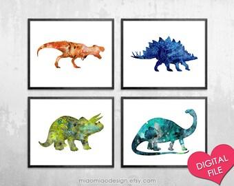 Dinosaur Watercolor Prints, PRINTABLE Art, Digital Download, Dinosaur Art Nursery, Dinosaur Art Download, Dinosaur Printable For Nursery Art