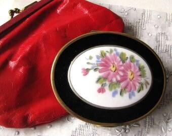 Porcelian Floral Vintage Powder and Rouge Compact - Powder Compact - Rouge Compact - Vanity Accessory - Purse Accessory - Purse Mirror