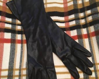 Vintage HANSEN Analon Long Black Gloves Size 7 S-M