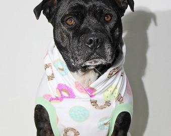 Original Glaze Dog Hoodie / Dog Jacket / Fleece Jacket / White / Donut Print Dog Coat