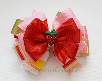 Sweet Strawberry Shortcake Colorful Bow with Red and A Strawberry Bow Center
