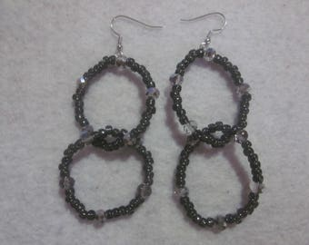 Gunmetal Seed Bead Earrings