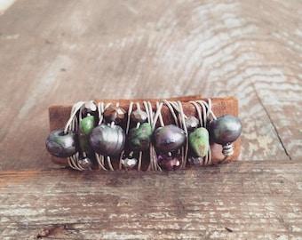 Freshwater Pearl Cuff Bracelet, Distressed Leather Cuff Bracelet, Beaded Bracelet