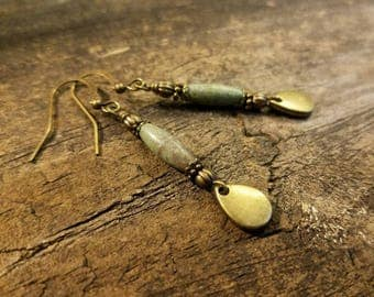 Boho Earrings, Earthy Earrings, Bronze Earrings