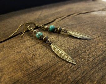 Boho Earrings, Bronze Earrings, Dangle Earrings
