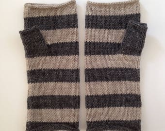 Fingerless mittens stripe USA made wool charcoal and oatmeal