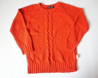 Vintage 90's Pierre Cardin Cotton Knit Red Sweater- Womens Size S